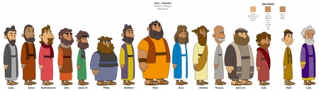 Animation Character Designs of Apostles and Disciples