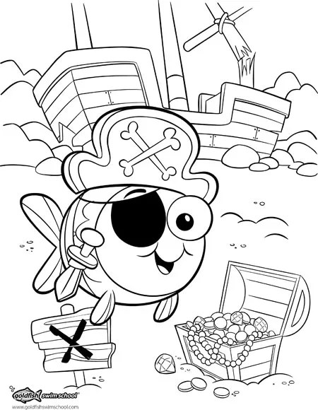 Coloring Page For Goldfish Swim School Cedric Hohnstadt Illustration