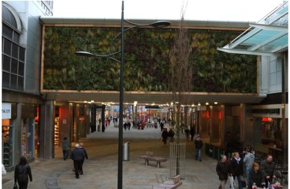 Green wall and new street furniture - Canal Walk