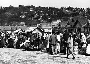 Commerçants du village de Soroca (Bessarabie) sur les rives du Dniestr. (Ceges, n° 66111)
