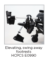 Elevating swing away footrest