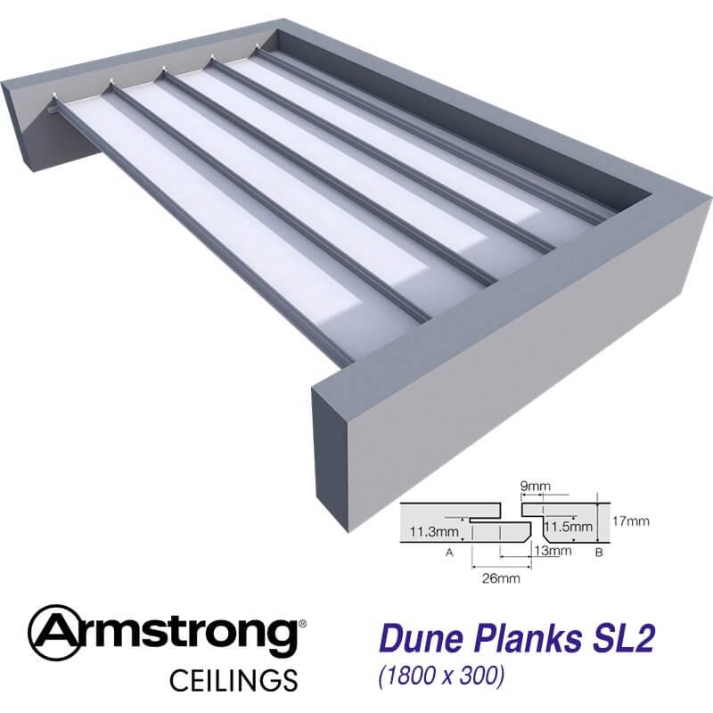 armstrong dune plank bp9634m 1800 x 300mm sl2 edge ceiling tiles