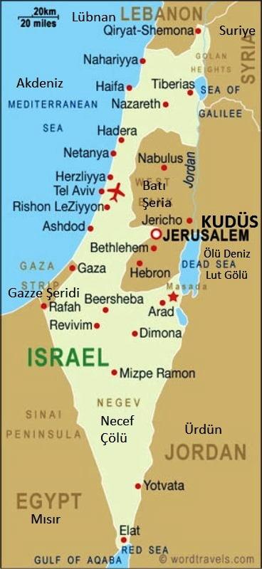 israil haritası Türkçe