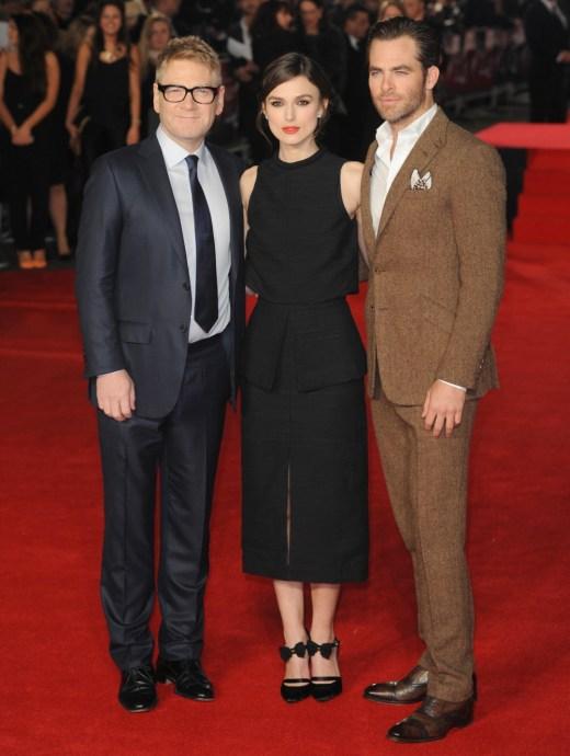 Chris Pine in brown herringbone at UK 'Jack Ryan' premiere