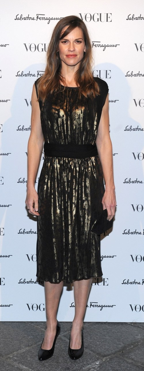 Hilary Swank wears Ferragamo for Milan Fashion Week: stunning or budget?