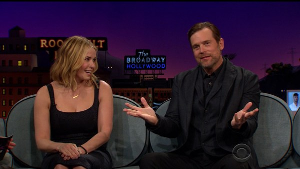 Chelsea Handler and Peter Krause during an appearance on CBS's 'The Late Late Show with James Corden.'