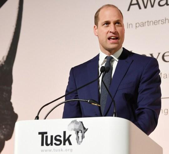 Il principe William, duca di Cambridge, tiene un discorso al Tusk Conservation Awards di Londra