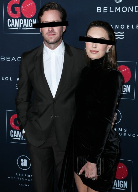 L'attore Armie Hammer e la moglie Elizabeth Chambers arrivano al 13 ° Annual GO Campaign Gala 2019 tenutosi a NeueHouse Hollywood il 16 novembre 2019 a Hollywood, Los Angeles, California, Stati Uniti.