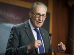 Il leader della minoranza al Senato Chuck Schumer, D-NY, tiene una conferenza stampa al Campidoglio degli Stati Uniti.