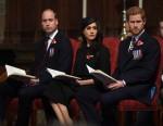 Il principe William, il principe Harry e Meghan Markle partecipano a un servizio diurno Anzac