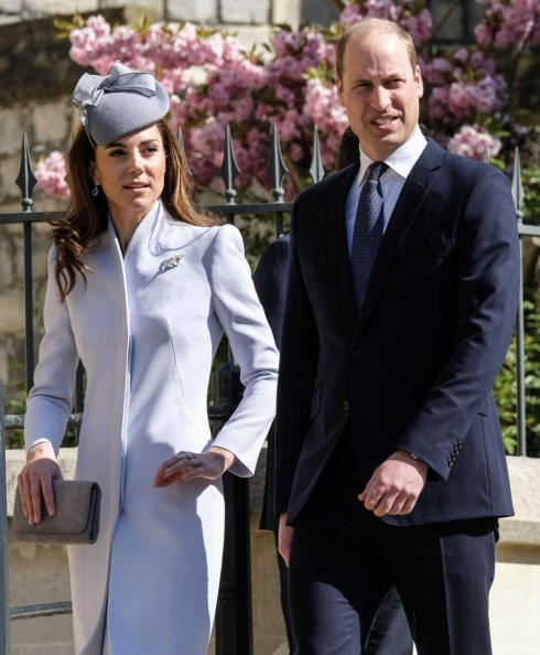 Kate, duchessa di Cambridge, principe William, duca di Cambridge arriva alla funzione religiosa della domenica di Pasqua nella Cappella di San Giorgio nel Castello di Windsor domenica 21 aprile 2019