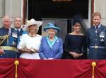 Il principe Carlo, il principe Andrea, Camilla duchessa di Cornovaglia, la regina Elisabetta II, Meghan duchessa di Sussex, il principe Harry al centesimo anniversario della Royal Air Force, Buckingham Palace, Londra, Regno Unito martedì 10 luglio 2018