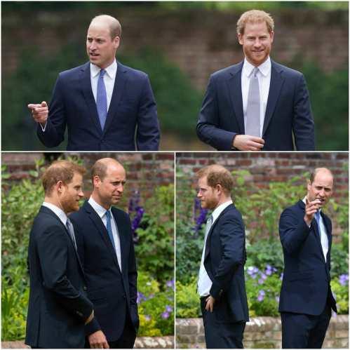 Collage di Harry e William all'inaugurazione della statua