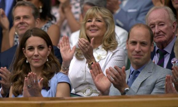 Catherine, duchessa di Cambridge, e il principe William, duca di Cambridge, guardano la finale del singolare maschile di Wimbledon al Centre Court.Londra, Regno Unito - domenica 14 luglio 2019.