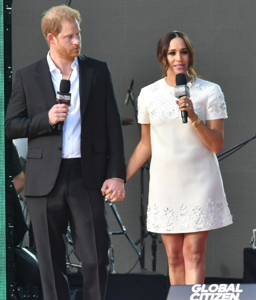 Prince Harry and Meghan Markle speak at the Global Citizen Live Festival 2021