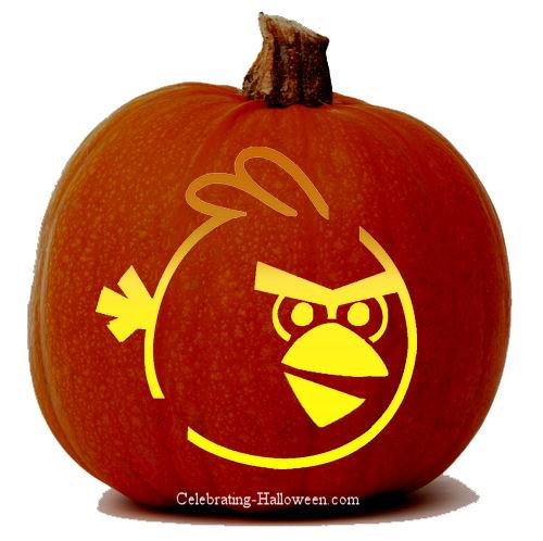 Angry Birds Pumpkin Stencil