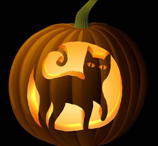 Black Cat Pumpkin Carving Stencil