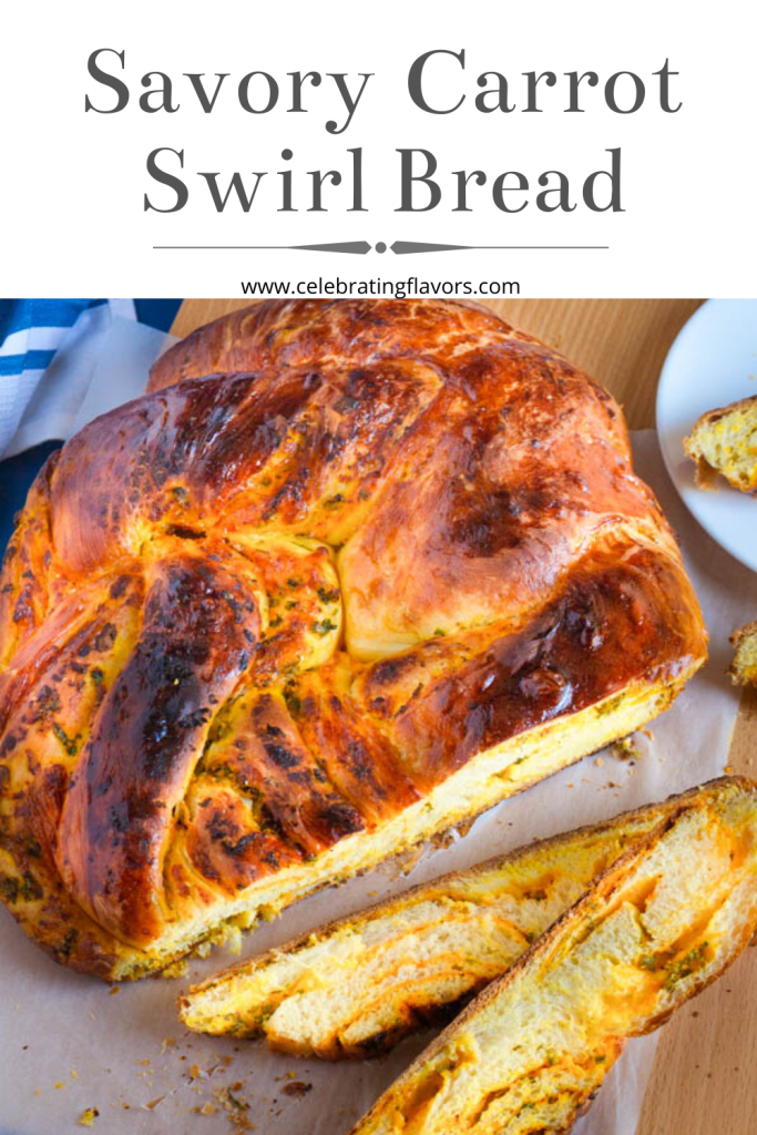 This soft, savory carrot swirl yeast bread is filled with carrot mustard paste, cheese, and a sprinkle of parsley.