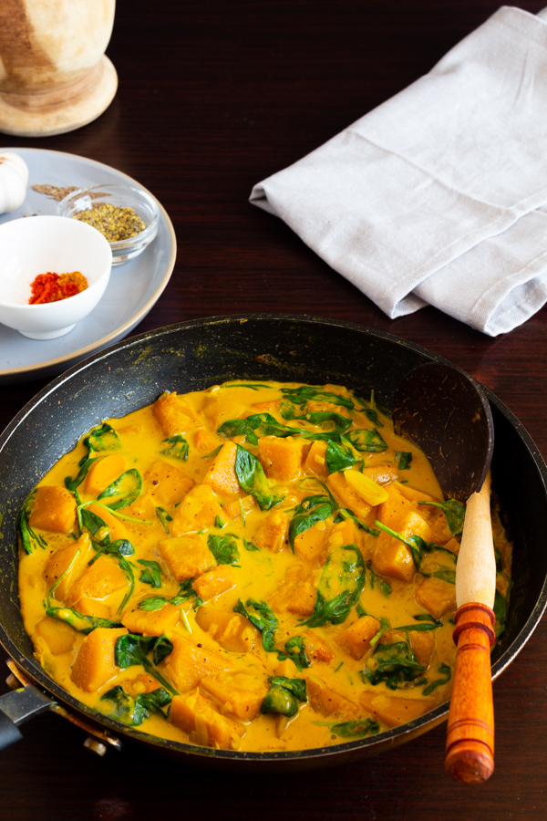 Butternut Squash curry with spinach