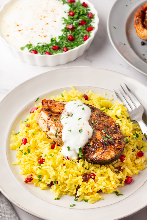Baked Salmon with Saffron rice