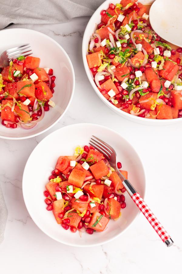 Watermelon & Pomegranate Salad