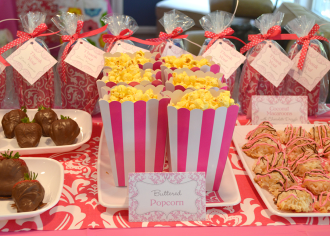 Pink Damask Birthday Party Food Table