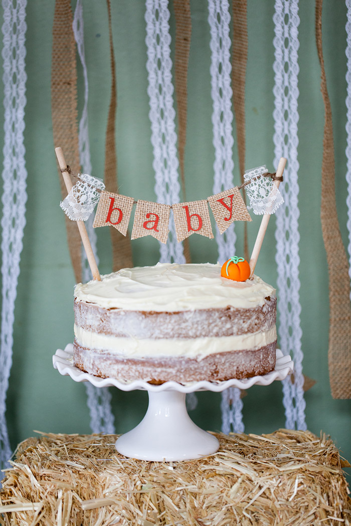 Rustic Fall Little Pumpkin Baby Shower Ideas - Naked Cake