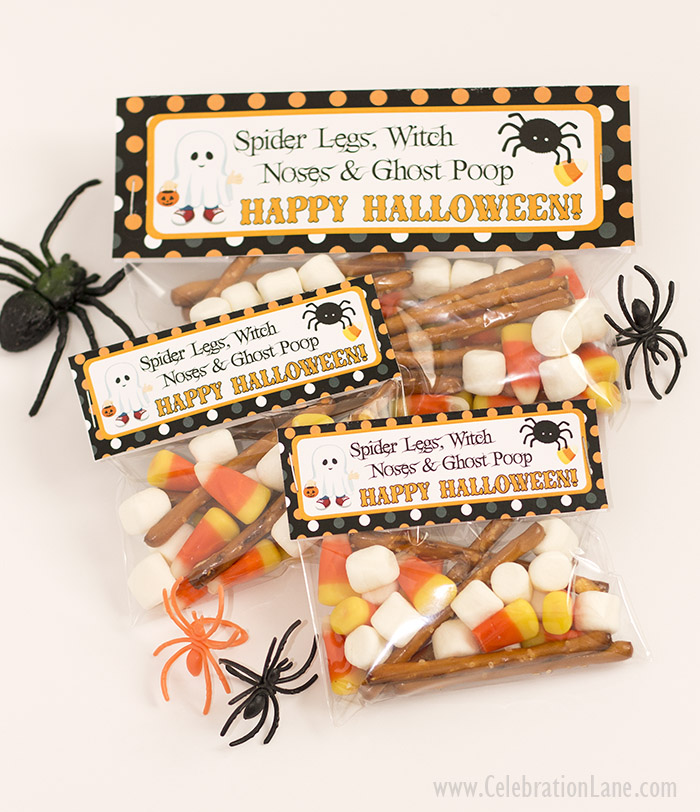 Halloween Treat Bag Tags - FREE for personal use, make for your kids preschool friends or classmates!
