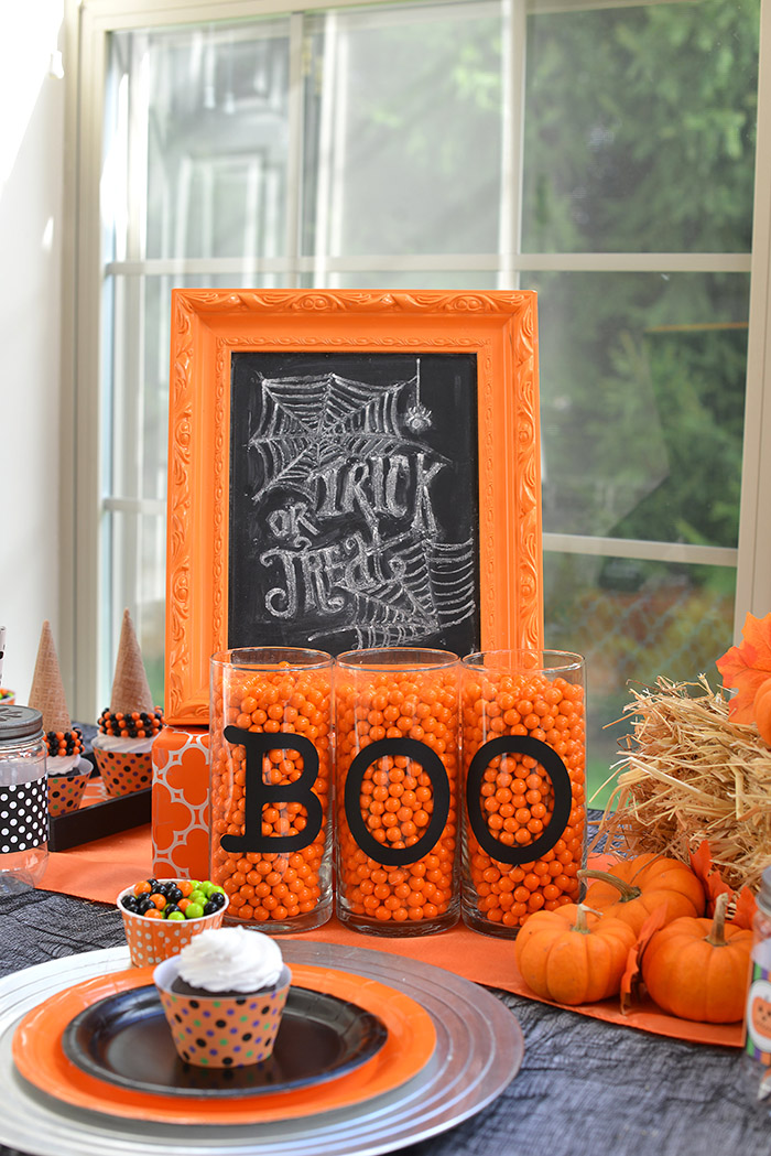 Trick or Treat Chalkboard Sign for a Halloween Party