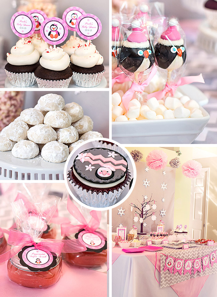 Winter Wonderland Pink Penguin Baby Shower Ideas