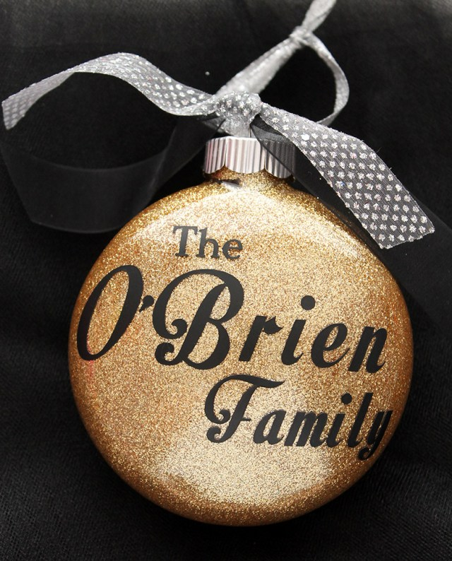 Personalized Glitter Gold Ornament with your family name. Makes a great gift!