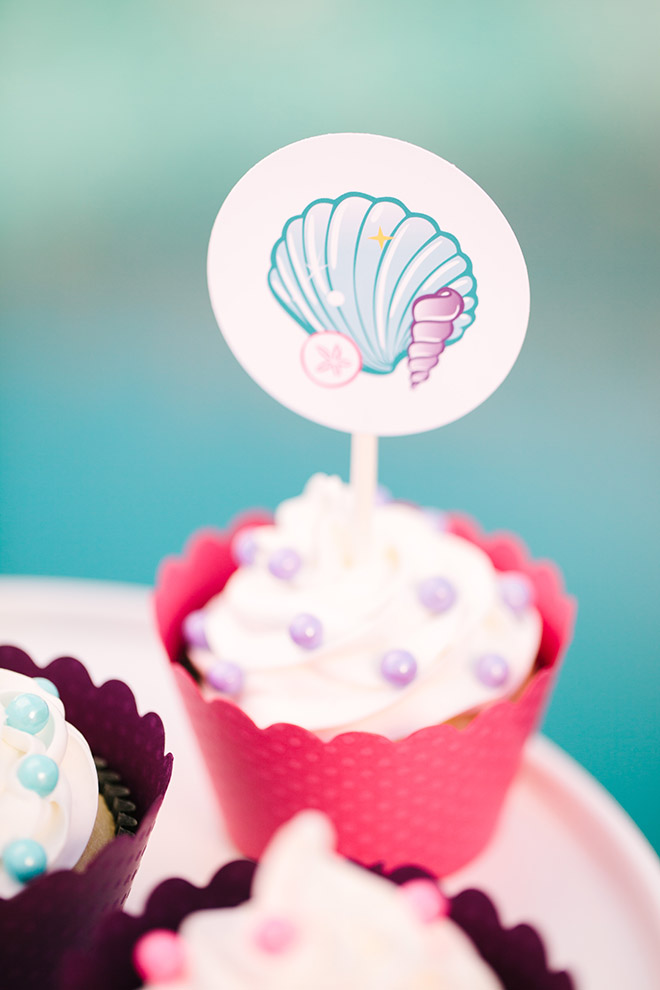 Barbie The Pearl Princess Mermaid Party Ideas - FREE printable Cupcake Toppers!