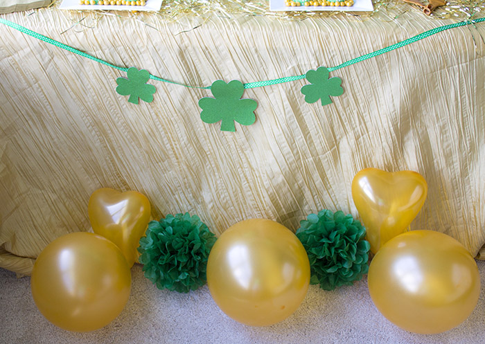 """St. Patrick's Day """"Lucky In Love"""" Party - Gold balloons and shamrocks"""