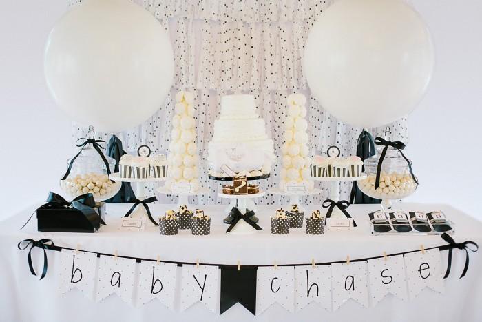 Black and White First Birthday Celebration + Baby Shower