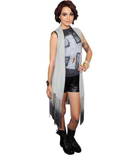 A Lifesize Cardboard Cutout of Cher Lloyd wearing shorts