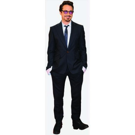 A Lifesize Cardboard Cutout of Robert Downey Junior wearing a dark suit
