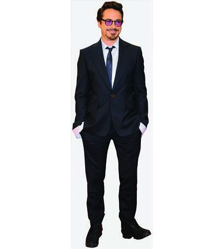 A Lifesize Cardboard Cutout of Robert Downey Junior wearing a dark suit