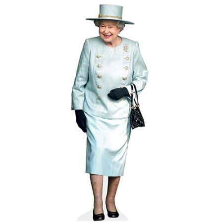 A Lifesize Cardboard Cutout of HRH The Queen wearing a matching outfit