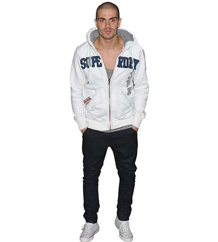 A Lifesize Cardboard Cutout of Max George wearing a hoodie