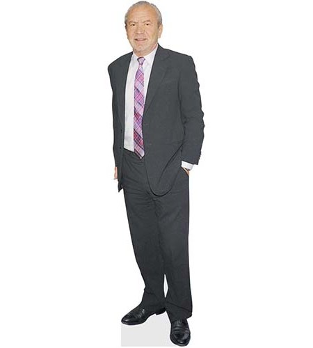 A Lifesize Cardboard Cutout of Alan Sugar wearing a blue suit