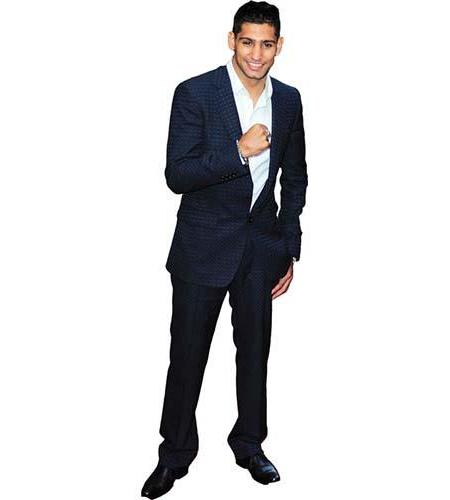 A Lifesize Cardboard Cutout of Amir Khan wearing a suit