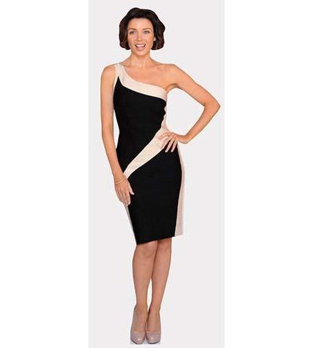 A Lifesize Cardboard Cutout of Dannii Minogue wearing a black and pink dress