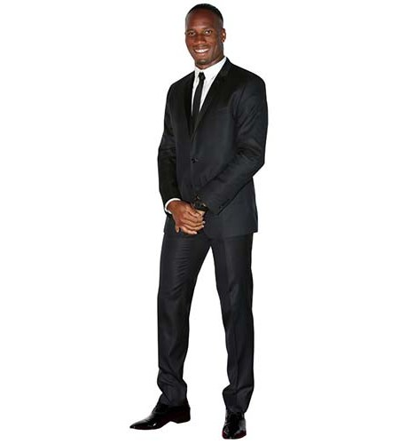 A Lifesize Cardboard Cutout of Didier Drogba wearing a dark suit