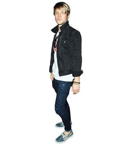 A Lifesize Cardboard Cutout of Dougie Poynter wearing a denim jacket