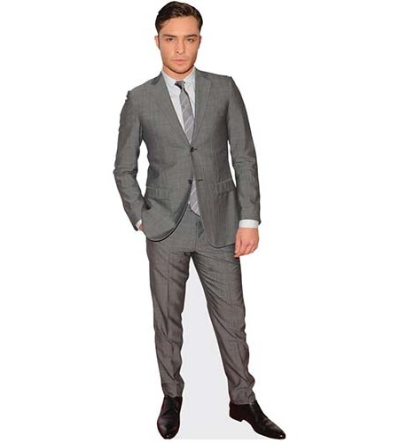 A Lifesize Cardboard Cutout of Ed Westwick wearing a grey suit