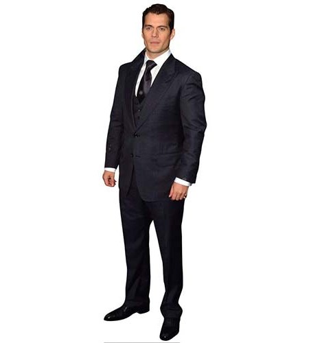 A Lifesize Cardboard Cutout of Henry Cavill wearing a smart suit