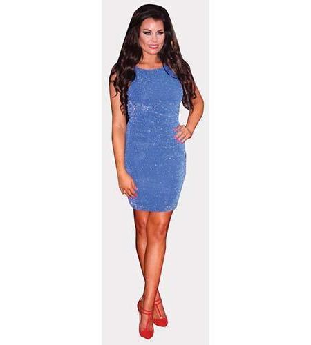 A Lifesize Cardboard Cutout of Jessica Wright wearing a short blue dress