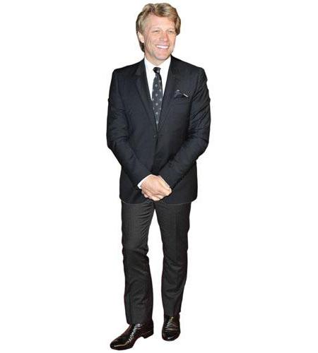 A Lifesize Cardboard Cutout of Jon Bon Jovi wearing smart clothes