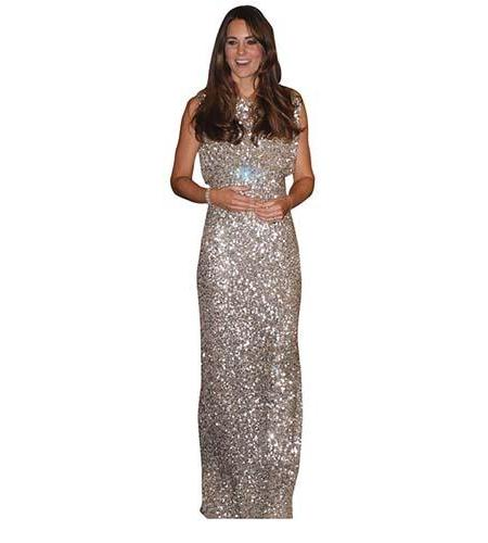 A Lifesize Cardboard Cutout of Kate Middleton wearing a floor length outfit