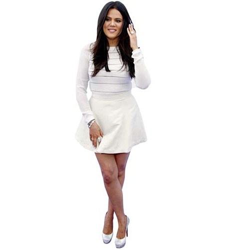 A Lifesize Cardboard Cutout of Khloe Kardashian wearing a short dress